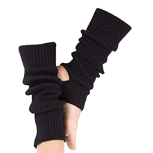 Donna Scaldamuscoli a Maglia,Protezione della Caviglia in Maglia Crochet Ginocchio per Yoga Danza Esercizio Palestra Mantenersi Caldi Nero