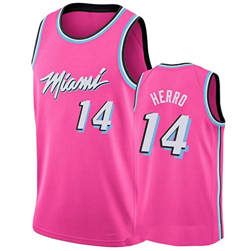 VOLY Stagione 19-20 Gioco Jimmy Tyler Herro # 14, Maglia Classica da Basket per Adulti a Manica Corta (S-2XL)-Pink-XL