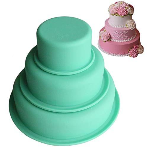 Silikon Kuchenformen Backform, 3 Stück Geschichtet Antihaft-Pizza Formen Kuchenformen für Geburtstagsfeier Hochzeitstag Enthält 7.5cm, 15cm, 22cm Tortenbackformen