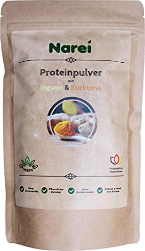 Narei - Proteína en polvo con jengibre y cúrcuma y 65% de proteínas, sustituto de alimentos rico en proteínas, sin sustancias aromáticas, para batidos, cereales y porridge