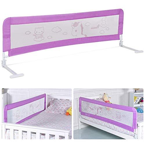 COSTWAY Cama Barandilla Plegable Portátil Carril Riel de la Cama Protección Contra Caídas para Bebé Cuna Extensible 120-180 x 54cm (Rosa púrpura)