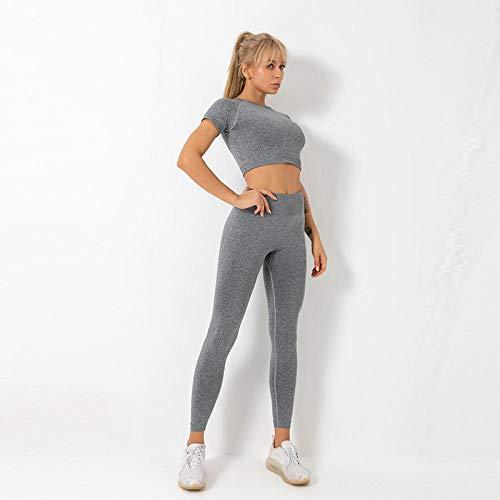 qqff Yoga Gym Fitness Running Pilates Leggings,Traje Ropa Yoga,Pantalones Manga Corta Deportivos Deportivos,Traje Cuerpo Gris,Leggings Mallas Compresión Elástico