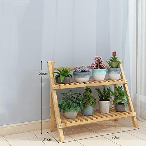YCHBOS 2-3 rangées de Plantes Se Pliant étagères Jardin échelle de présentoir de Pot de Fleur en Bois-sélection de Taille Multiples (Size : 70cm×31cm×56cm)