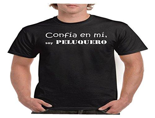 Camisetas divertidas Child confia en mi, Soy Peluquero - para Hombre Camisetas Talla Medium Color Negro