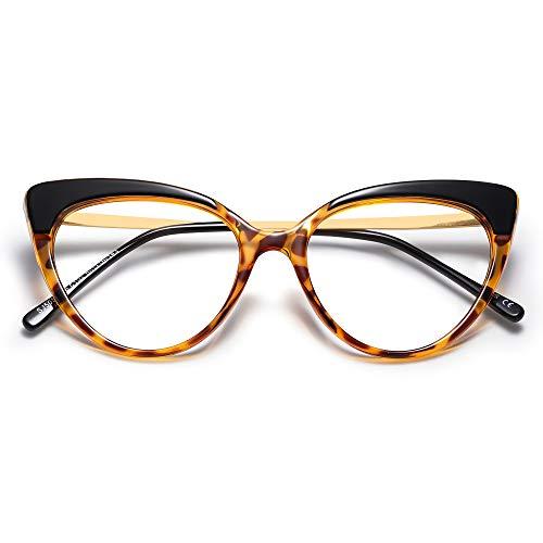 SOJOS Blaulichtfilter Brille Damen Katzenaugen ohne Sehstärke Anti-Eye Müdigkeit Computer Brille Anti-Blaulicht Gläser SJ5056 mit Leopard Rahmen/Anti-blaulicht-linse