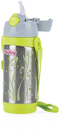 Nuby ID10264 Borraccia Termica per bambini dai 2 anni- con cannuccia e tracolla per la scuola e lo sport - Grigio