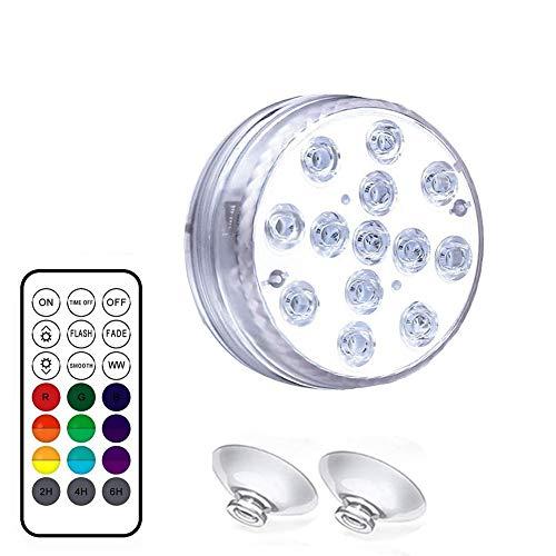 Gally Schwimmbadlampe Unterwasser-LED-Lampe IP68 Wasserdicht mit Fernbedienung Saugnapf Aquarium Scheinwerfer