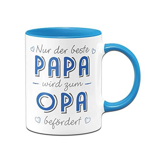 Tassenbrennerei Tasse mit Spruch Papa Wird zum Opa befördert - Du wirst Opa loding Geschenk (Blau)