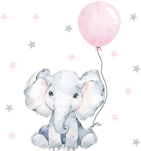 Pandawal Wandtattoo Baby Elefant mit Luftballon Safari Wandaufkleber für Junge und Mädchen Kinderzimmer Deko Wandsticker Rosa (S)
