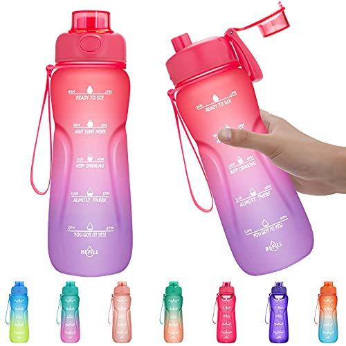 Water Bottles with Times to Drink, 24oz Leak-proof Water Bottle for Kids, Women, Juniors, BPA Free Tritan Water Jug (With Gift Box)