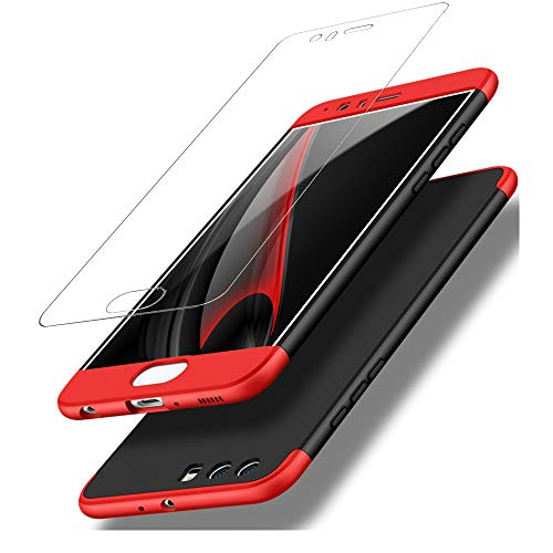 DECHYI compatibles para Funda Huawei P10,Cubierta + Cristal Templado Matte Ultra Slim PC Hard-Protección del Cuerpo Scratchproof Cubierta Completa Negro Rojo