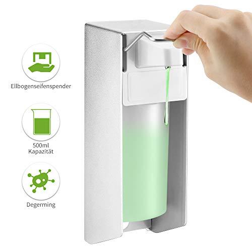 SUNJULY Manueller Seifenspender, Elbow Sope Dispenser aus Aluminiumlegierung, an der Wand Montierter Seifenlotionspumpen-Desinfektionsspender für Badezimmer, Küchen, Kindergärten, Büros-500ML