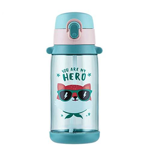 fevilady Botella de agua para niños, botella de agua para niños, caricaturas deportivas, taza de agua a prueba de fugas, ideal para deportes al aire libre y deportes escolares (color: 650 ml)