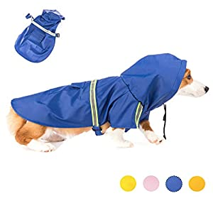 MelPet Raincoat for Dogs Lightweight Rain Jacket Hoodies with Reflective Strip, Adjustable Rain Poncho for Medium to Large Dogs