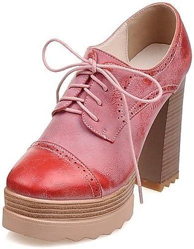 NJX  hug Chaussures Femme - Habillé   Décontracté   Soirée & Evénement - Jaune   Rose   Rouge - Gros Talon - Talons   Bout Arrondi - Talons -