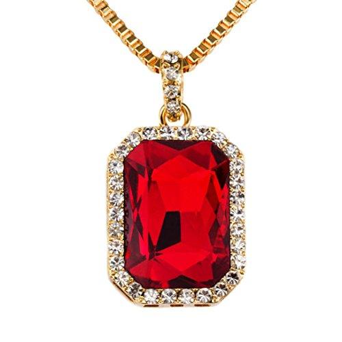 Signore Collana Catena Choker rimorchi Charm Red collana 29Zoll Box catena gioielli e Lega, colore: rosso, cod. Sunnywill