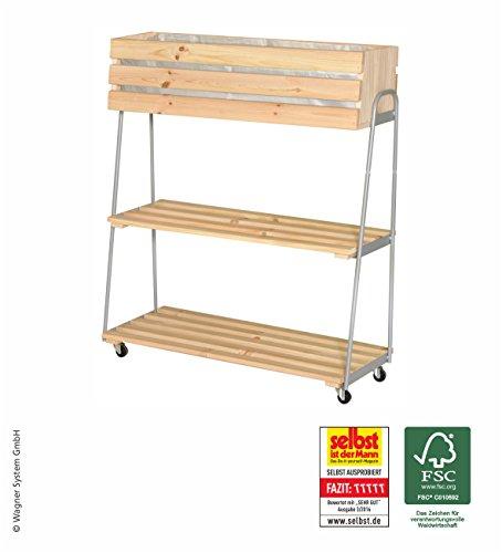 WAGNER Mobiles Hochbeet GreenRACK - Nadelholz Natur FSC/Metall, 87,5 x 103 x 35 cm, 2 Böden, 4 Rollen, inkl. Pflanztasche - 25025001