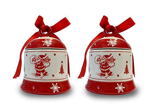 2 Stück Keramik Pralinendose Schoko-Plätzchen-Gebäck Keksdose Gebäckdose Vorratsdose Weihnachten rund mit Deckel