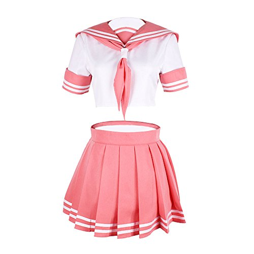 TISEA Womens Japanese Anime Cosplay Costume School Uniform Sailor Dress Outfit (Asian L, Pink)