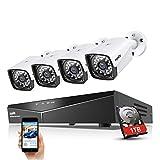 SANNCE XPOE Kit Cámara de vigilancia 1080P 4CH NVR y 4 IP Cámaras Sistema de Seguridad 2MP IP66 Impermeable Interior/Exterior IR Leds Visión Nocturna 100pies Detección de Movimiento-1TB Disco Duro