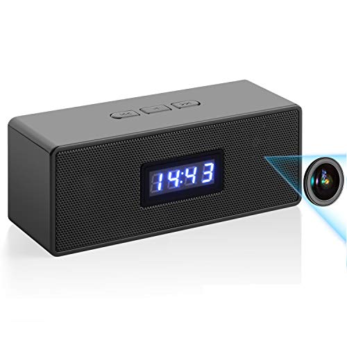 HD Wireless WiFi Clock-Camera Bluetooth-Music-Speaker-Camera - Home,Office,Shop IP Remote Security Monitor Video Recorder with Night Vision,Motion Detection & Alarm (Black)