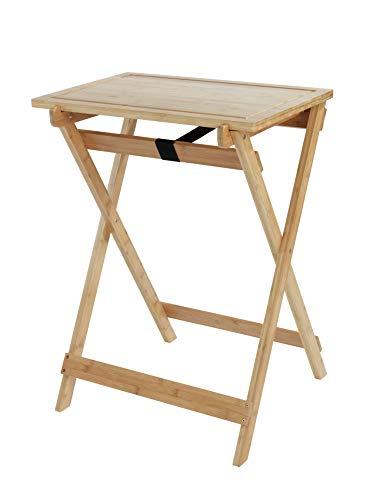 WENKO Klapptisch Lugo, Beistelltisch mit abnehmbarem Tablett, praktischer Tisch für Küche, Wohnzimmer, Balkon und Terrasse, zusammenklappbar, aus echtem Bambus, 60 x 79 x 52 cm, Natur