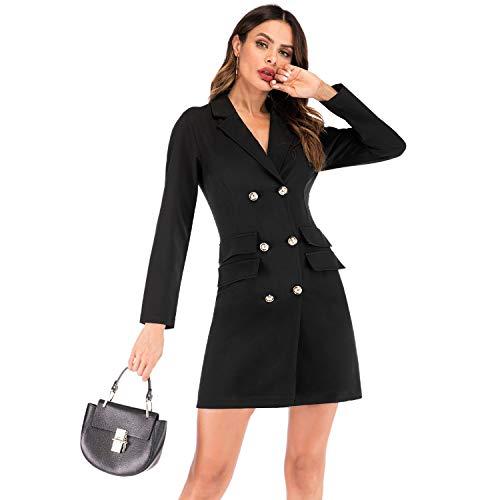 SODIAL Elegante Vestido Cruzado De Las Mujeres Blazer Dress Office Slim Para Mujer Vestidos Ol Sólido Cuello En V Vestido Ajustado De Manga Larga Para Mujer S