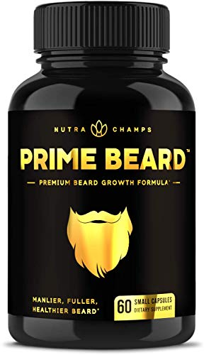 Beard Growth Vitamins Supplement for Men - Grow Thicker & Longer Facial Hair with Biotin, Collagen, Saw Palmetto - Small Pills for All Hair Types