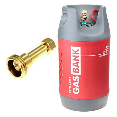 GasBank SINGOLO 11 kg - Nachfüllbare Gasflasche, 80% Füll-Stopp wiederbefüllbar, Leichtes Verbundmaterial Gewicht 11 kg Cylinder 5,5 kg mit Nachfülladaptern,Camping Gasflasch, Tankadapt, Grill