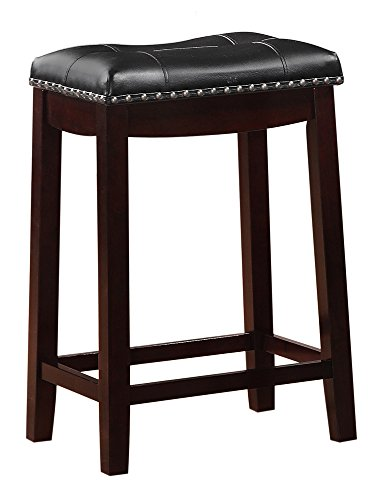 Angel Line Cambridge Padded Saddle Stool with Cushion, 24' Set of 1, Espresso with Black