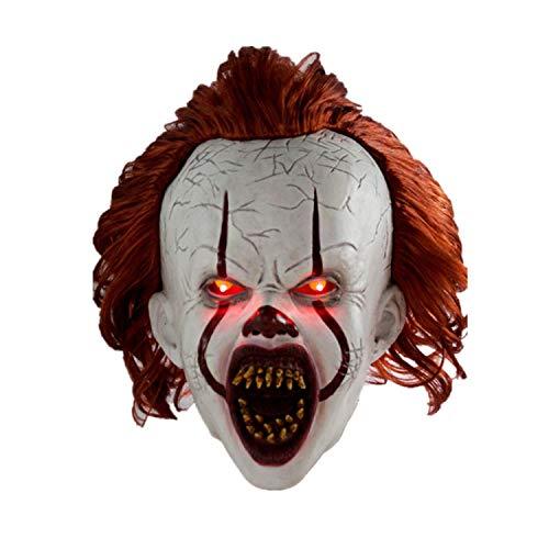 XUMING Halloween-Clown-Maske, LED-Licht, realistischer ganzer Kopf mit dem Haar, weich und bequem für Erwachsene Partei-Cosplay-Dekorations-Zusätze