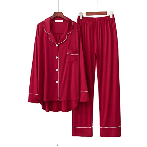 NYKK Señora Ropa de Dormir 2 unids Pijama Establece Manga Larga Femenina Suelta Transpirable Suave de Gran tamaño cómodo Ropa cómoda Conjunto de Pijama (Cor : A, Tamanho : M Size)