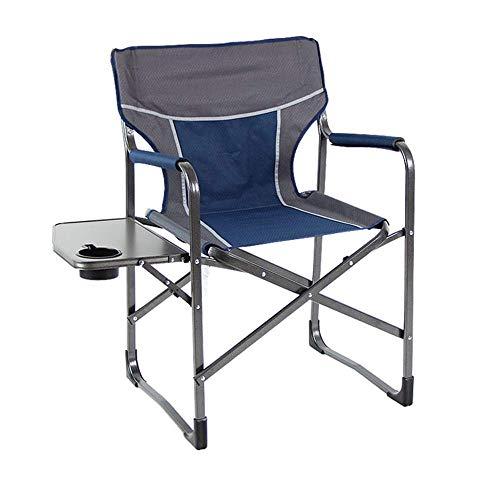 DaQingYuntur Outdoor-Lounge-Sessel, Angelstuhl aus Aluminium, Outdoor-Stuhl mit Tisch, hoher Regendosenhalter für den Außenbereich; Outdoor Leisure Luxury Padded Folding Camping Chair (Farbe : Blau)