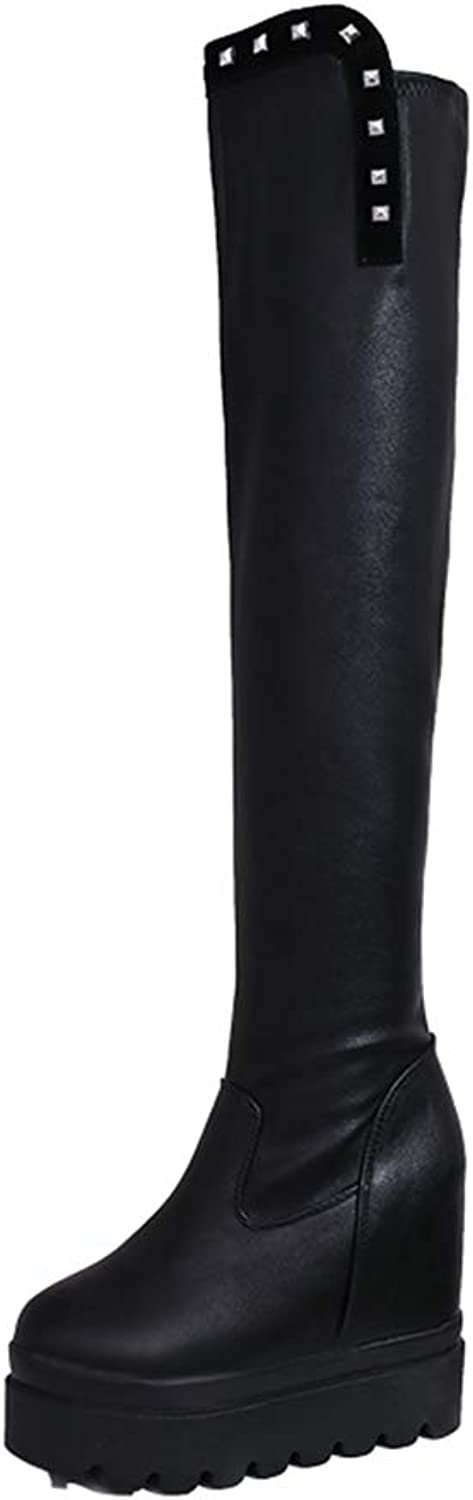 T-JULY Winter Fashion Thick Soled Over The Knee Boots Women Platform Wedge Heels Fashion Long Boots