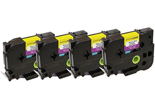 4 Kassetten TZe-241 TZ-241 18mm x 8m Schwarz auf Weiß Schriftband kompatibel für Brother P-Touch Etikettendrucker