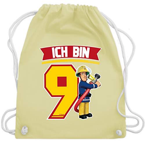 Shirtracer Feuerwehrmann Sam Tasche - Ich bin 9 - Sam - Unisize - Pastell Gelb - Kindergeburtstag - WM110 - Turnbeutel und Stoffbeutel aus Baumwolle