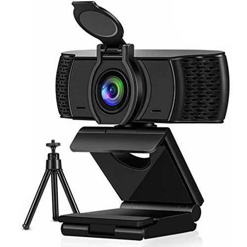 Emersom 1080P Webcam mit Mikrofon & Sichtschutz, 90-Grad-Weitwinkel, Web-Kamera für PC, Mac, Laptop, Desktop, Full HD, Videokamera, flexibel, drehbar, Clip und Stativ