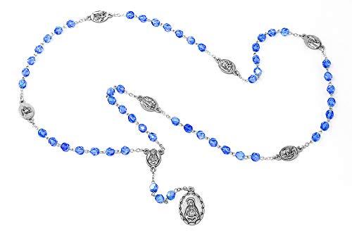Catholic Gift Shop Ltd - Rosario de cristal azul con cuentas de rosario de The Seven Sorrows Mary y cuentas de cristal azul + tarjeta de oración Lourdes