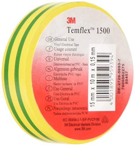 3M TGG1510 Temflex 1500 - Nastro isolante elettrico in vinile, 15 mm x 10 m, 0,15 mm, colore: Giallo/Verde