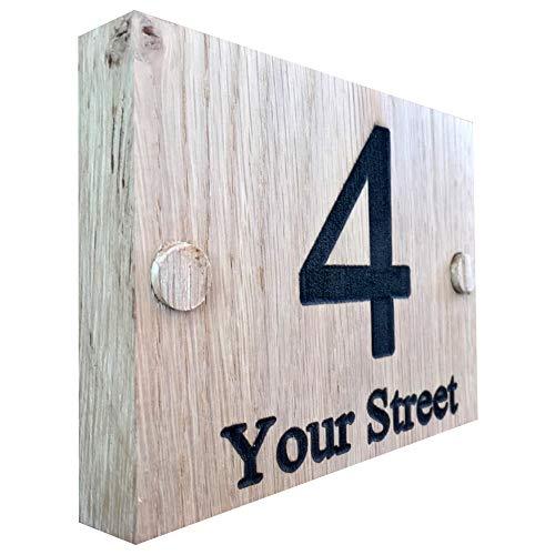 Plaque de maison en bois de chêne de qualité supérieure - Personnalisable