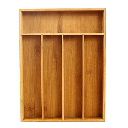 LKAIBIN Bandeja Cubiertos Caja de Almacenamiento práctico cuchillería de la Cocina Extensible Organizador de cajones de bambú Accesorios de Cocina
