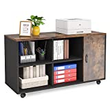 Tribesigns 39 inches Lateral File Cabinet, Wood Filing Cabinet Large Mobile Lateral Filing Cabinet Printer Stand with Doors and Open Storage Shelves for Home Office Organization