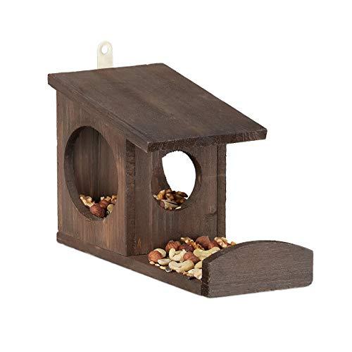 Relaxdays Futterstationen für Eichhörnchen 10026317_746 , Dunkelbraun, 17, 5 x 14 x 25 cm