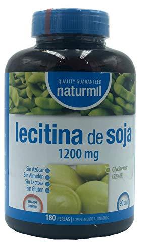 LECITINA DE SOJA 1200 MG IP 180 PERLAS NATURMIL, no GMO, , sin gluten, sin almidón, sin azúcar, sin lactosa, primera calidad, no testeado en animales, sin organismos genéticamente modificados.