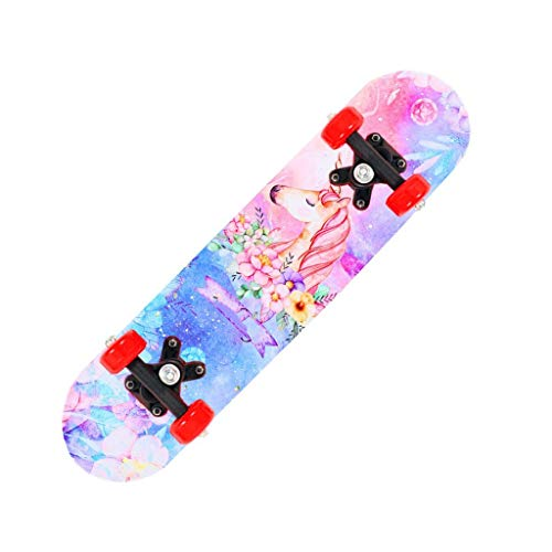 Cruiser Skateboard 24 Inch Complete Skateboard, Boys Girls Teens Beginner Unicorn