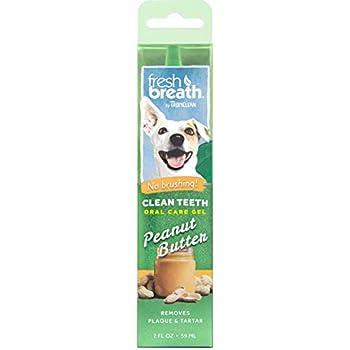 Fresh Breath de TropiClean - Gel de Soin Bucco-dentaire pour Chiens - Dents Propres, Sans Brossage - Prévient la Plaque et le Tartre - Goût de Beurre de Cacahuètes - 59 ml