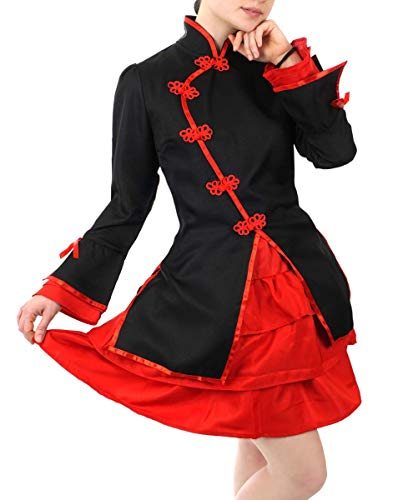 CoolChange Cheongsam Damen Kostüm mit kurzem Rock, Rot Größe: L