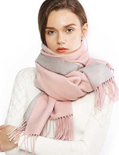 Winter Cashmere Wool Scarf Pashmina Shawl Wrap for Women Long Large Warm Thick Reversible Scarves Pink and Grey