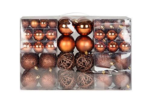 Exklusives Weihnachtskugeln Christbaumkugeln Set mit 100 Stueck Farbe Braun