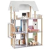 Howa Puppenhaus für Ankleidepuppen bis 30 cm incl. 19 TLG. Möbelset aus Holz 70103